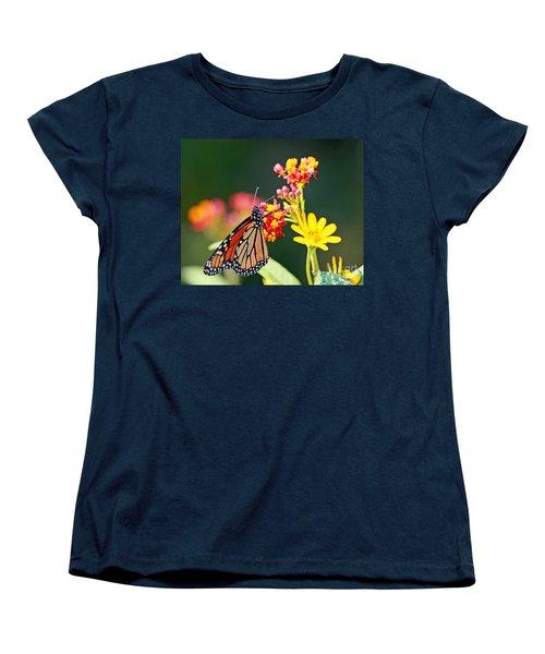 Women's T-Shirt (Standard Cut) featuring the photograph Butterfly Monarch On Lantana Flower by Luana K Perez