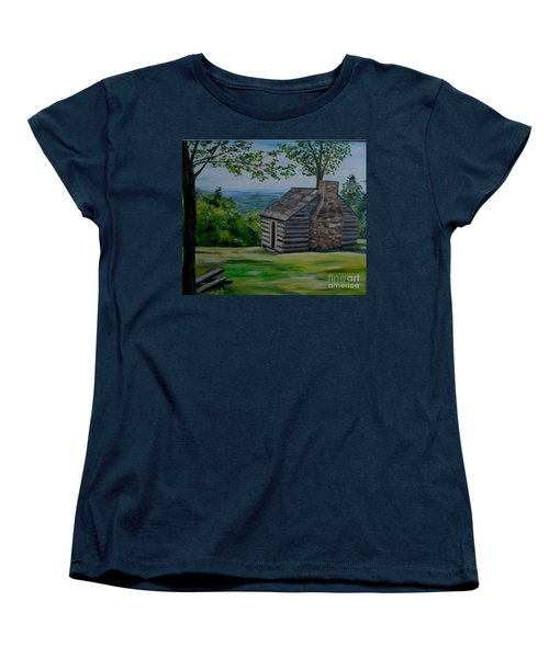 Women's T-Shirt (Standard Cut) featuring the painting Cabin On The Blue Ridge Parkway In Va by Julie Brugh Riffey
