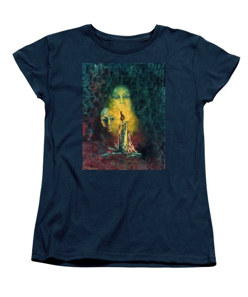 Candle Light Mother Child Faces In Yellow Candle Light Blue Red Background  Women's T-Shirt (Standard Cut) by Rachel Hershkovitz