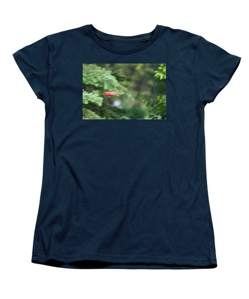 Women's T-Shirt (Standard Cut) featuring the photograph Cardinal In Flight by Thomas Woolworth