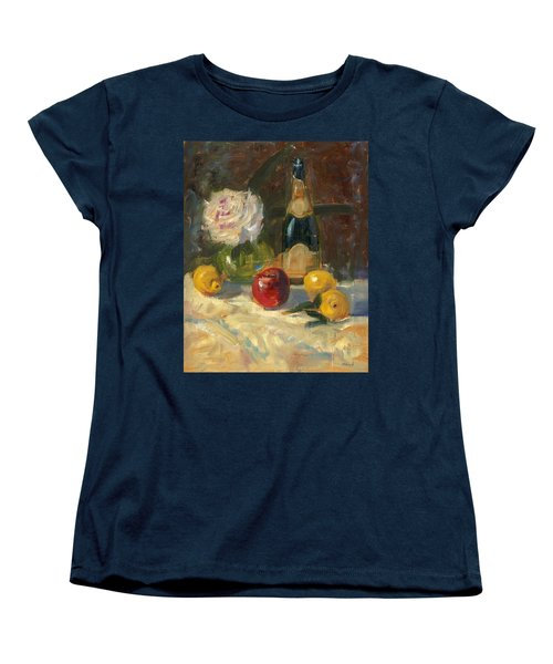 Women's T-Shirt (Standard Cut) featuring the painting Champagne And Roses by Marlyn Boyd