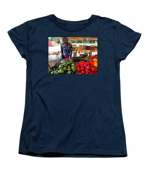 Women's T-Shirt (Standard Cut) featuring the photograph Colorful Fruit And Veggie Stand by Kym Backland