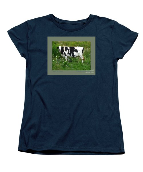 Cow In The Flowers Women's T-Shirt (Standard Cut) by Patricia Overmoyer