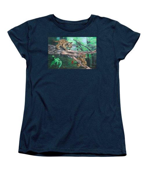 Women's T-Shirt (Standard Cut) featuring the painting Cubs At Play by Wendy Shoults