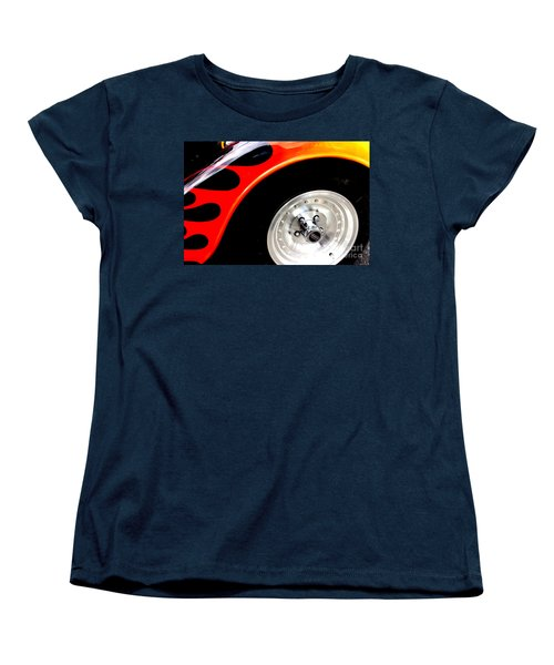 Women's T-Shirt (Standard Cut) featuring the digital art Curves Of Flames by Tony Cooper