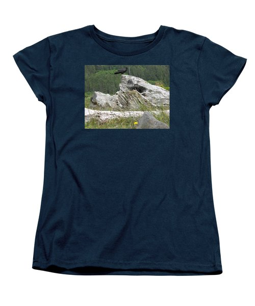 Women's T-Shirt (Standard Cut) featuring the photograph Dandelion Crow - On Oregon Coast Driftwood  by Cliff Spohn
