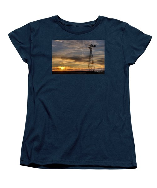 Women's T-Shirt (Standard Cut) featuring the photograph Dark Sunset With Windmill by Art Whitton