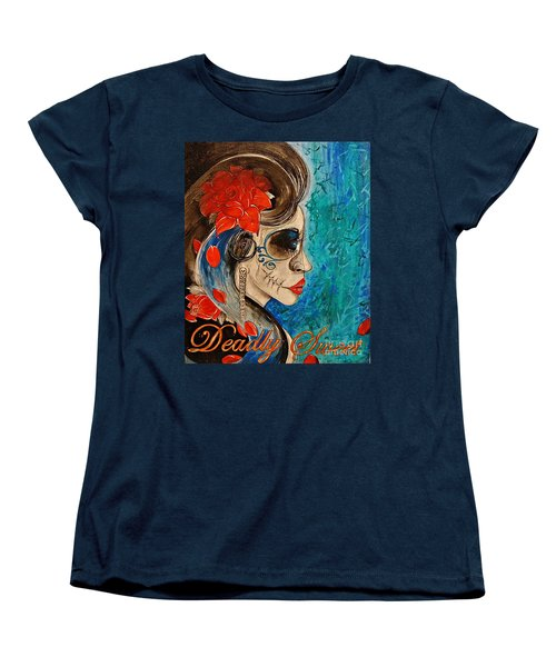 Women's T-Shirt (Standard Cut) featuring the painting Deadly Sweet by Sandro Ramani