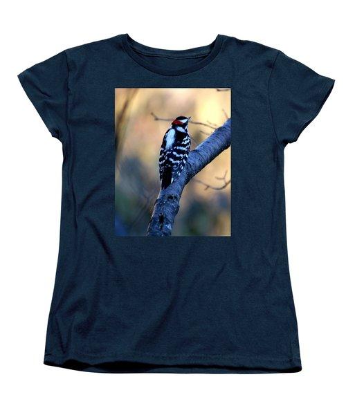 Women's T-Shirt (Standard Cut) featuring the photograph Downy Woodpecker by Elizabeth Winter