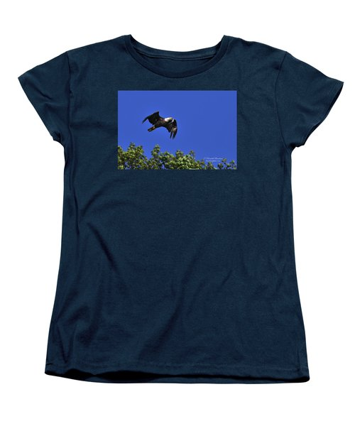 Women's T-Shirt (Standard Cut) featuring the photograph Eagle Over The Tree Top by Randall Branham