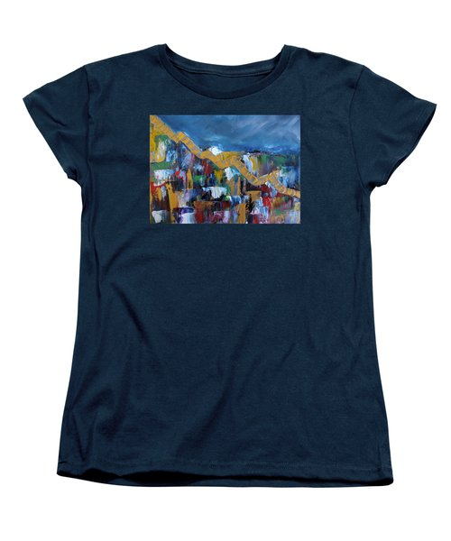 Women's T-Shirt (Standard Cut) featuring the painting Economic Meltdown by Judith Rhue