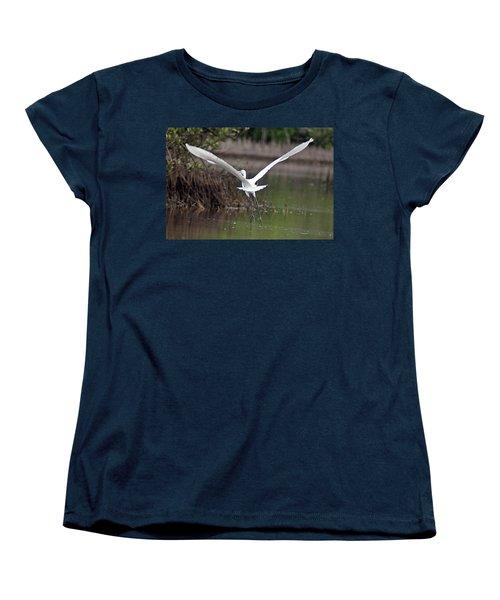 Egret In Flight Women's T-Shirt (Standard Cut) by Joe Faherty