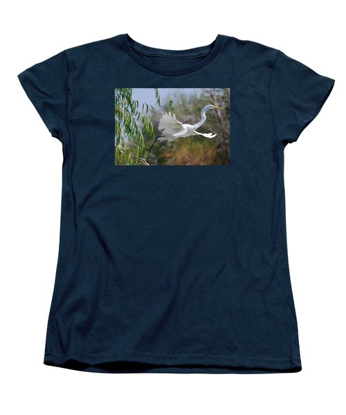 Women's T-Shirt (Standard Cut) featuring the photograph Egret's Flight by Tam Ryan