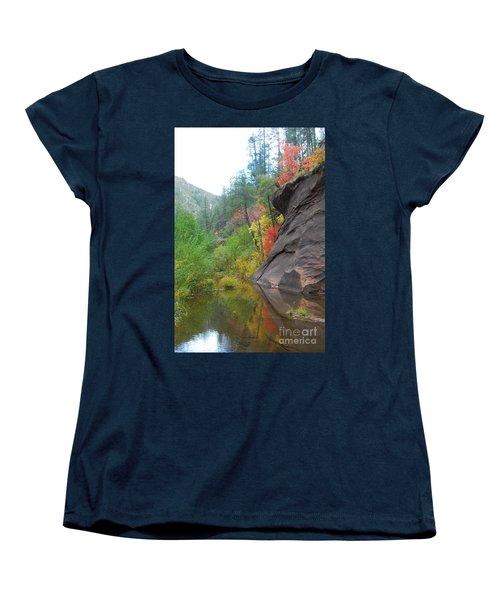 Fall Peeks From Behind The Rocks Women's T-Shirt (Standard Cut) by Heather Kirk
