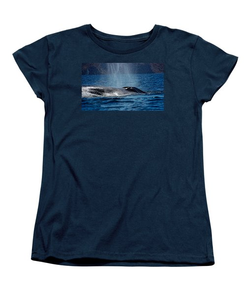 Women's T-Shirt (Standard Cut) featuring the photograph Fin Whale Spouting by Don Schwartz