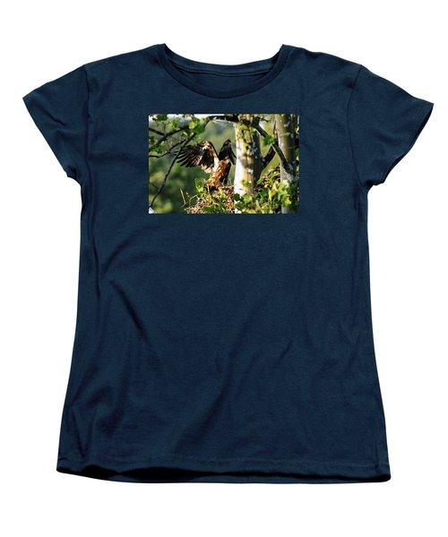Women's T-Shirt (Standard Cut) featuring the photograph Fledgling Testing The Wind by Randall Branham