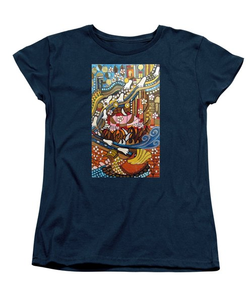 Footsteps To Peace Colorful Abstract Symbolism With Urban Cityscape Path Tracks Bird Dove Women's T-Shirt (Standard Cut) by Rachel Hershkovitz