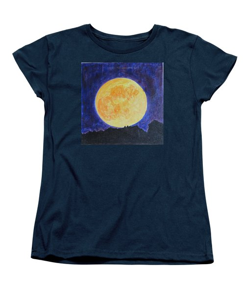 Women's T-Shirt (Standard Cut) featuring the painting Full Moon by Sonali Gangane