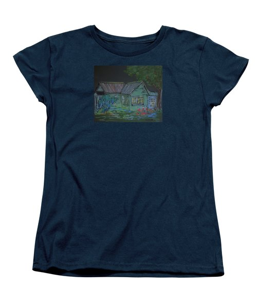 Women's T-Shirt (Standard Cut) featuring the painting Gabby's House by Francine Frank