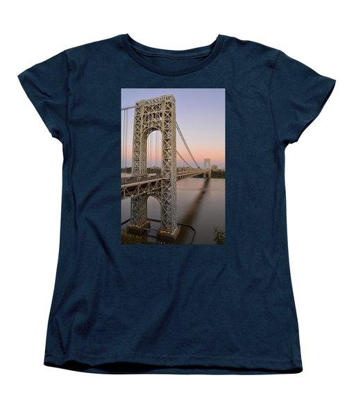 Women's T-Shirt (Standard Cut) featuring the photograph George Washington Bridge At Sunset by Zawhaus Photography
