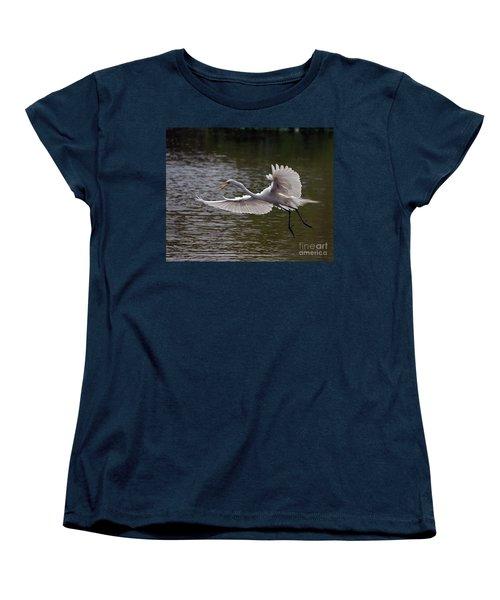 Great Egret In Flight Women's T-Shirt (Standard Cut) by Art Whitton