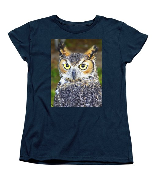 Women's T-Shirt (Standard Cut) featuring the photograph Great Horned Owl by Barbara Middleton