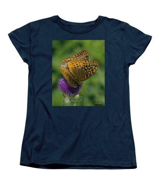 Great Spangled Fritillaries On Thistle Din108 Women's T-Shirt (Standard Cut) by Gerry Gantt