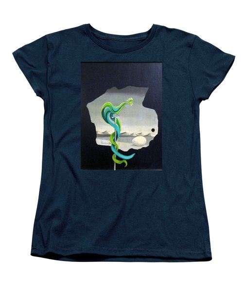 Green Rooster Call 2 In Surrealistic Frame Background Blue Tail Feathers Mountains Landscape And Egg Women's T-Shirt (Standard Cut) by Rachel Hershkovitz