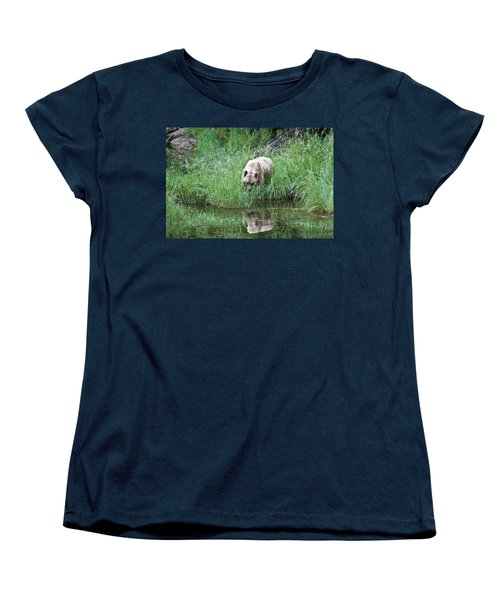 Grizzly Bear And Reflection On Prince Rupert Island Canada 2209 Women's T-Shirt (Standard Cut) by Michael Bessler