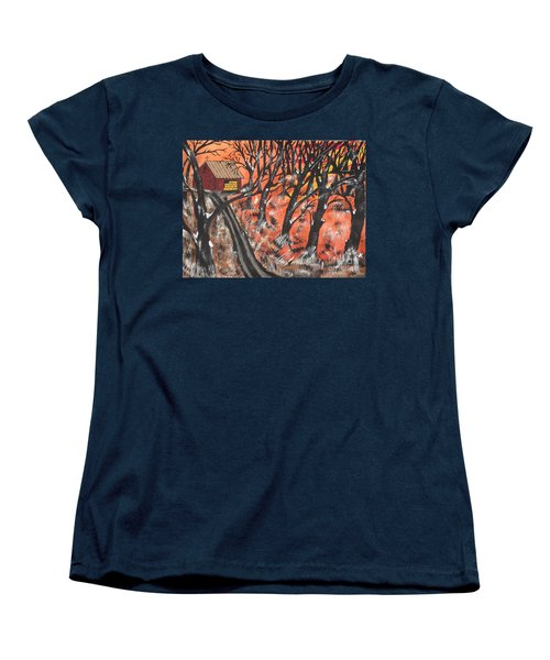 Women's T-Shirt (Standard Cut) featuring the painting Hazy Shade Of Winter by Jeffrey Koss