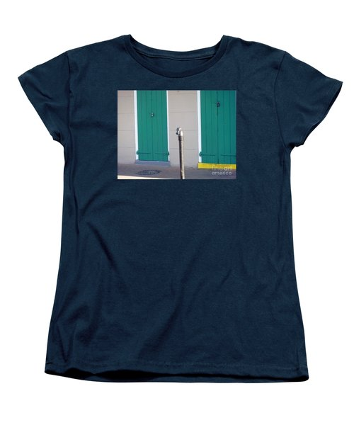 Women's T-Shirt (Standard Cut) featuring the photograph Horse Head Post With Green Doors by Alys Caviness-Gober