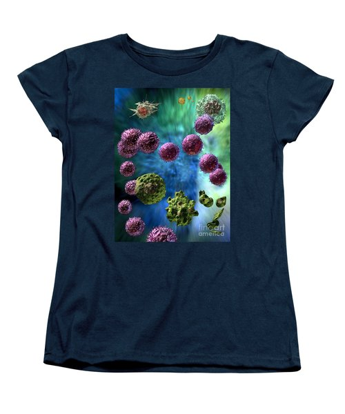 Women's T-Shirt (Standard Cut) featuring the digital art Immune Response Cytotoxic 3 by Russell Kightley