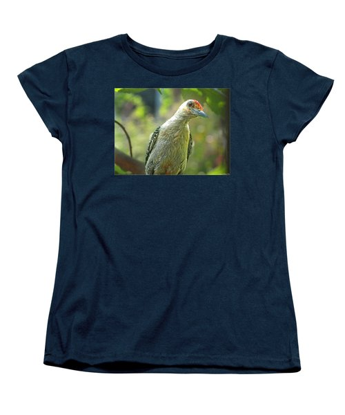 Women's T-Shirt (Standard Cut) featuring the photograph Inquisitive Woodpecker by Debbie Portwood