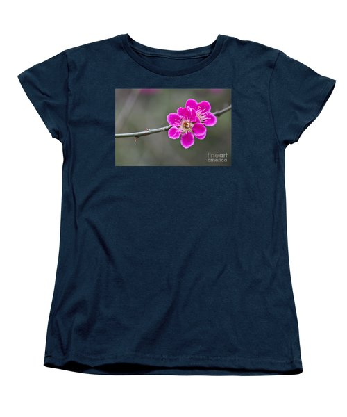 Women's T-Shirt (Standard Cut) featuring the photograph Japanese Flowering Apricot. by Clare Bambers