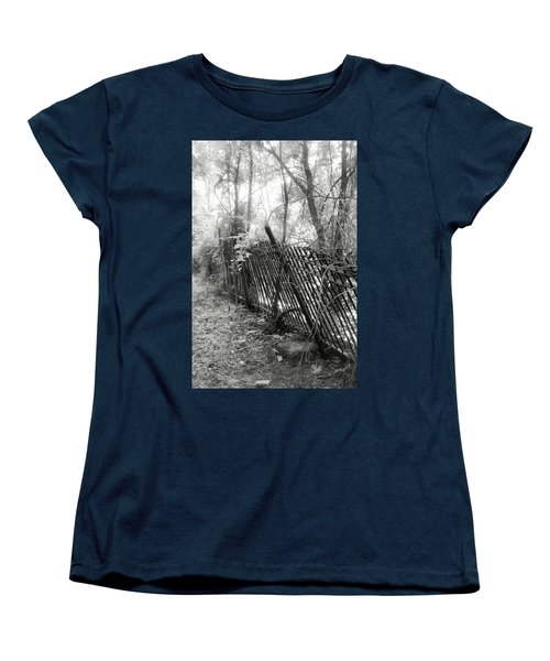 Women's T-Shirt (Standard Cut) featuring the photograph Leaning Fence by Mary Almond