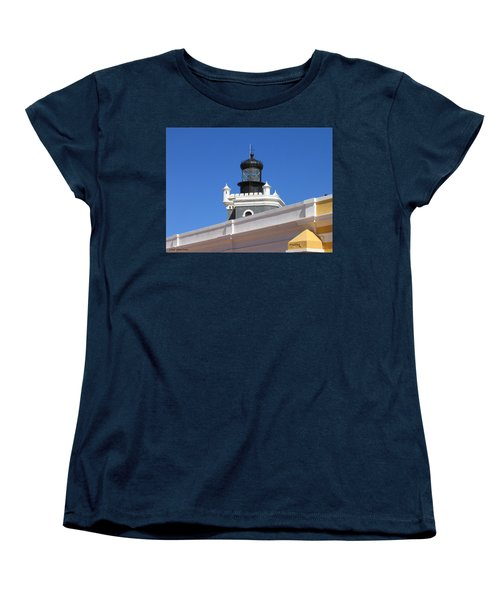 Women's T-Shirt (Standard Cut) featuring the photograph Lighthouse At Puerto Rico Castle by Suhas Tavkar