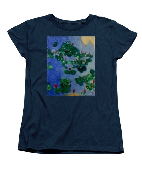 Women's T-Shirt (Standard Cut) featuring the painting Lily Pond by Sonali Gangane