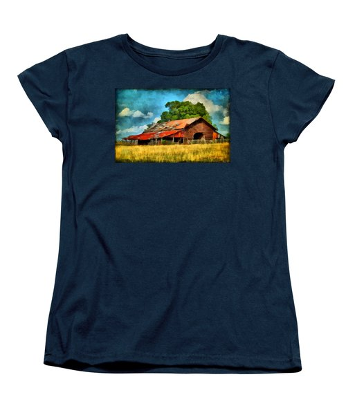Women's T-Shirt (Standard Cut) featuring the painting Long Road Barn by Lynne Jenkins