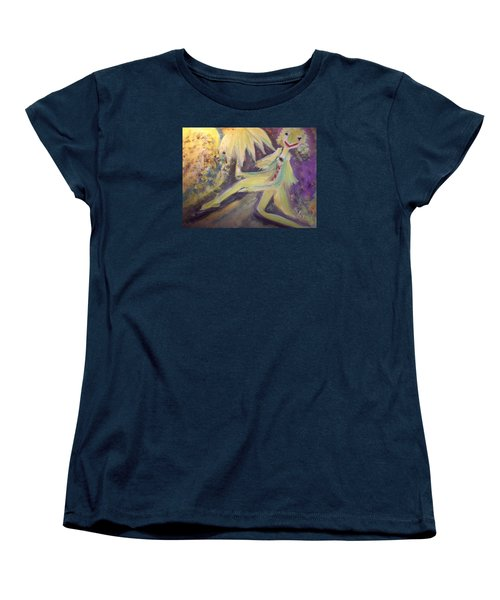Women's T-Shirt (Standard Cut) featuring the painting Man In The Moon by Judith Desrosiers