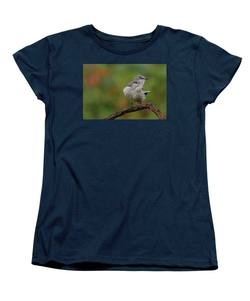 Women's T-Shirt (Standard Cut) featuring the photograph Mocking Bird Perched In The Wind by Daniel Reed
