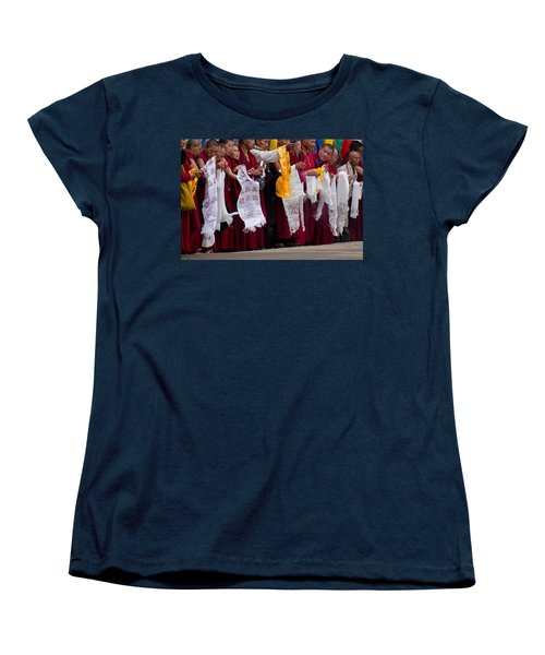 Women's T-Shirt (Standard Cut) featuring the photograph Monks Wait For The Dalai Lama by Don Schwartz