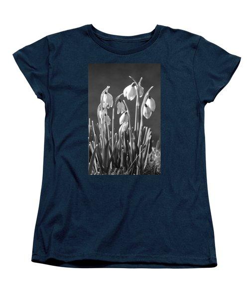 Women's T-Shirt (Standard Cut) featuring the photograph Mono Snowdrops by Lynn Bolt