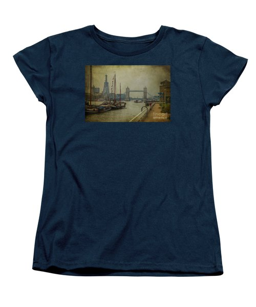Women's T-Shirt (Standard Cut) featuring the photograph Moored Thames Barges. by Clare Bambers