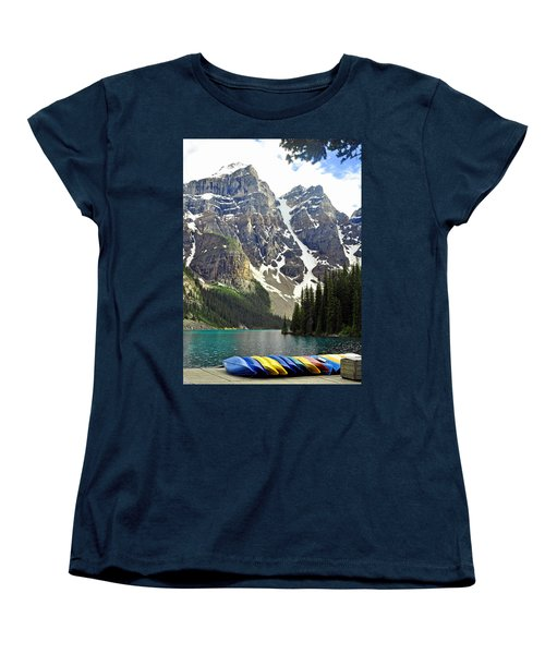 Women's T-Shirt (Standard Cut) featuring the photograph Moraine Lake by Lisa Phillips