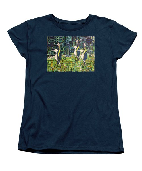Women's T-Shirt (Standard Cut) featuring the painting New Moon Penguin Races by Donna Howard