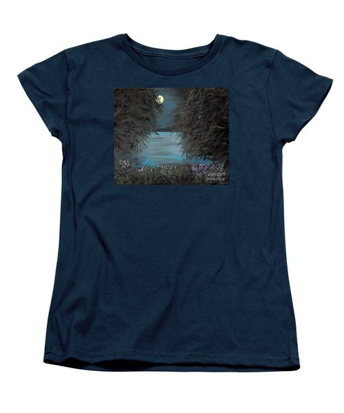 Women's T-Shirt (Standard Cut) featuring the painting Night In The Bayou by Alys Caviness-Gober