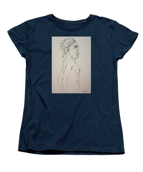 Nude Girl In Contour Women's T-Shirt (Standard Cut) by Rand Swift