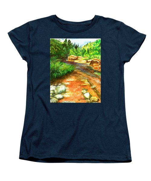 Women's T-Shirt (Standard Cut) featuring the painting Oak Creek Red by Eric Samuelson