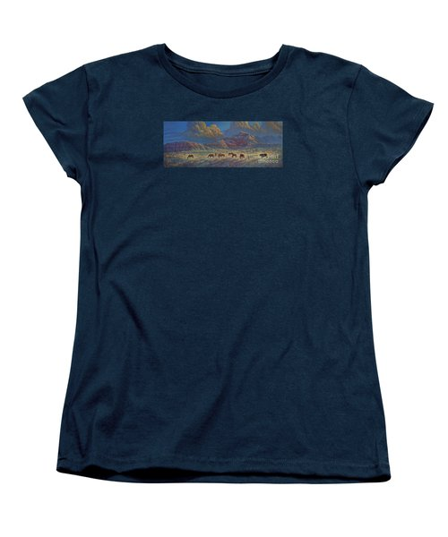 Women's T-Shirt (Standard Cut) featuring the painting Painted Desert Painted Horses by Rob Corsetti