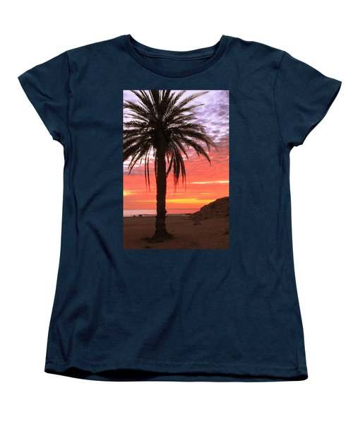Palm Tree And Dawn Sky Women's T-Shirt (Standard Cut) by Roupen  Baker
